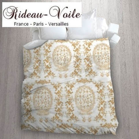 toile de jouy au mètre tissu Toile ameublement tapisserie textile agencement Paris Versailles haut de gamme french fabric meter tapestry upholstery home pattern  style Empire Yvelines motif imprimé housse de couette orange
