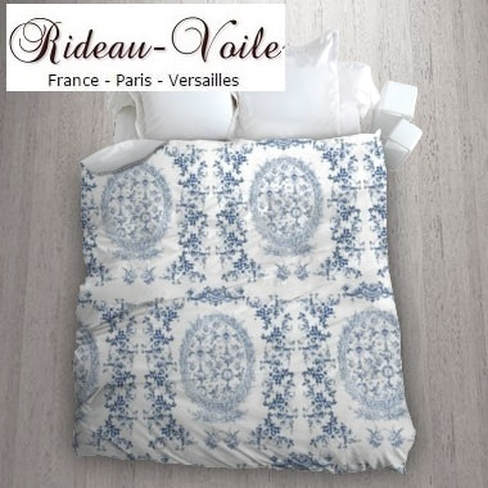 bleu toile de jouy au mètre tissu Toile ameublement tapisserie textile agencement ignifugé Paris Versailles haut de gamme french fabric meter tapestry upholstery home pattern  style Empire Yvelines motif imprimé housse de couette duvet cover blue