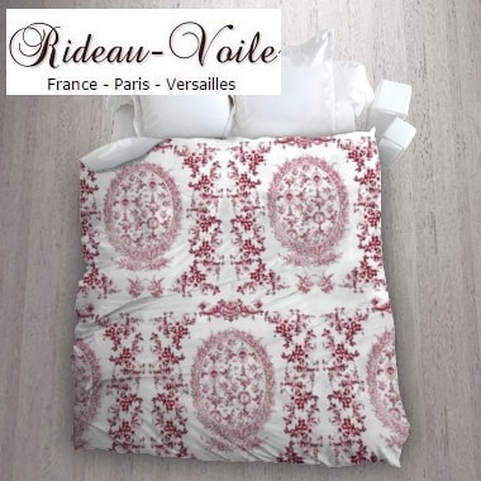 toile de jouy au mètre tissu Toile ameublement tapisserie textile agencement ignifugé Paris Versailles haut de gamme french fabric meter tapestry upholstery home pattern  style Empire Yvelines motif imprimé housse de couette duvet cover rouge red