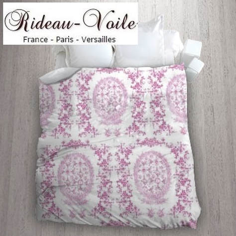 toile de jouy au mètre tissu Toile ameublement tapisserie textile agencement ignifugé Paris Versailles haut de gamme french fabric meter tapestry upholstery home pattern  style Empire Yvelines motif imprimé housse de couette duvet cover rose pink