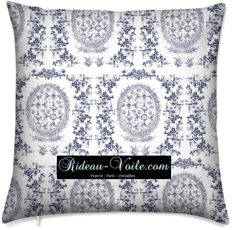 toile de jouy au mètre tissu Toile ameublement tapisserie textile agencement Paris Versailles haut de gamme french fabric meter tapestry upholstery home pattern  style Empire Yvelines motif imprimé housse de coussin duvet pillow cushion bleu blue