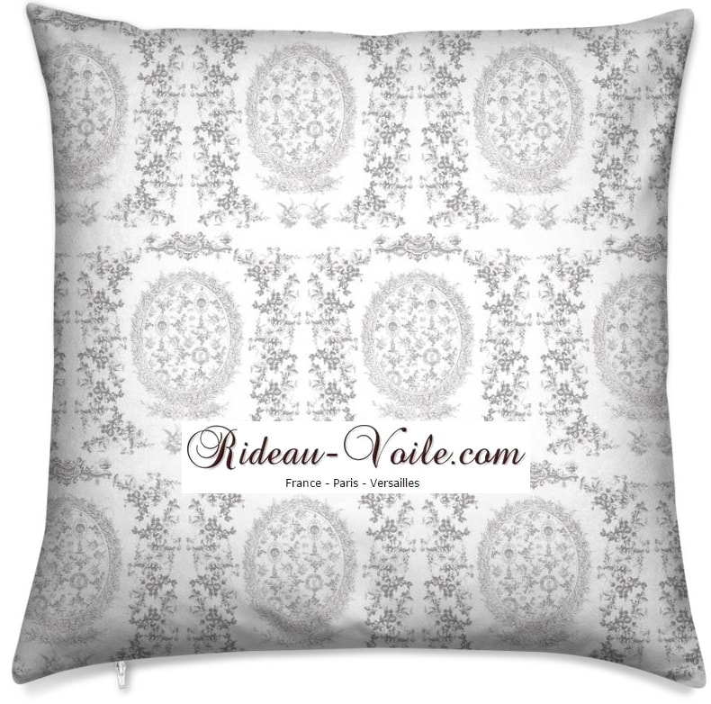 toile de jouy au mètre tissu Toile ameublement tapisserie textile agencement Paris Versailles haut de gamme french fabric meter tapestry upholstery home pattern  style Empire Yvelines motif imprimé housse de coussin duvet pillow cushion gray gris