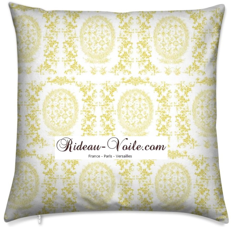 toile de jouy au mètre tissu Toile ameublement tapisserie textile agencement Paris Versailles haut de gamme french fabric meter tapestry upholstery home pattern  style Empire Yvelines motif imprimé housse de coussin duvet pillow cushion jaune yellow