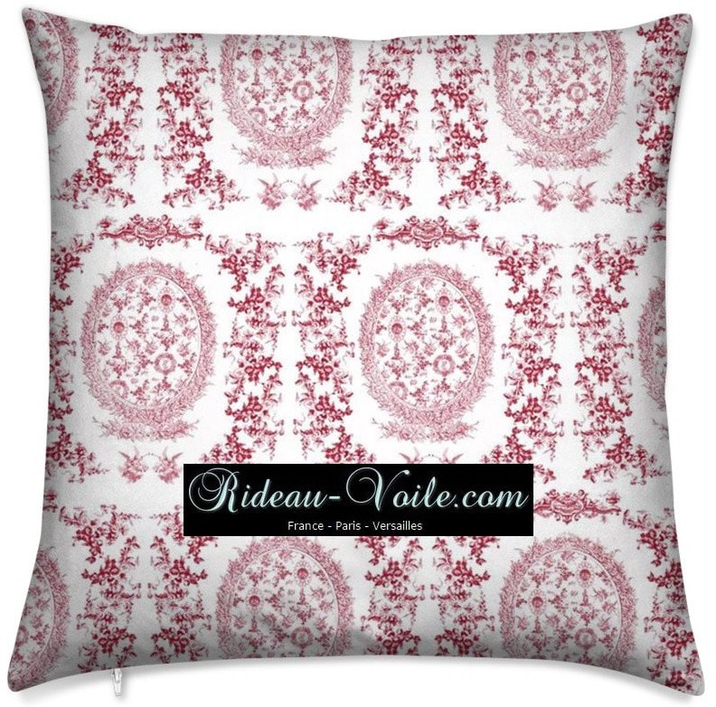 rouge toile de jouy au mètre tissu Toile ameublement tapisserie textile agencement Paris Versailles haut de gamme french fabric meter tapestry upholstery home pattern  style Empire Yvelines motif imprimé housse de coussin duvet pillow cushion red