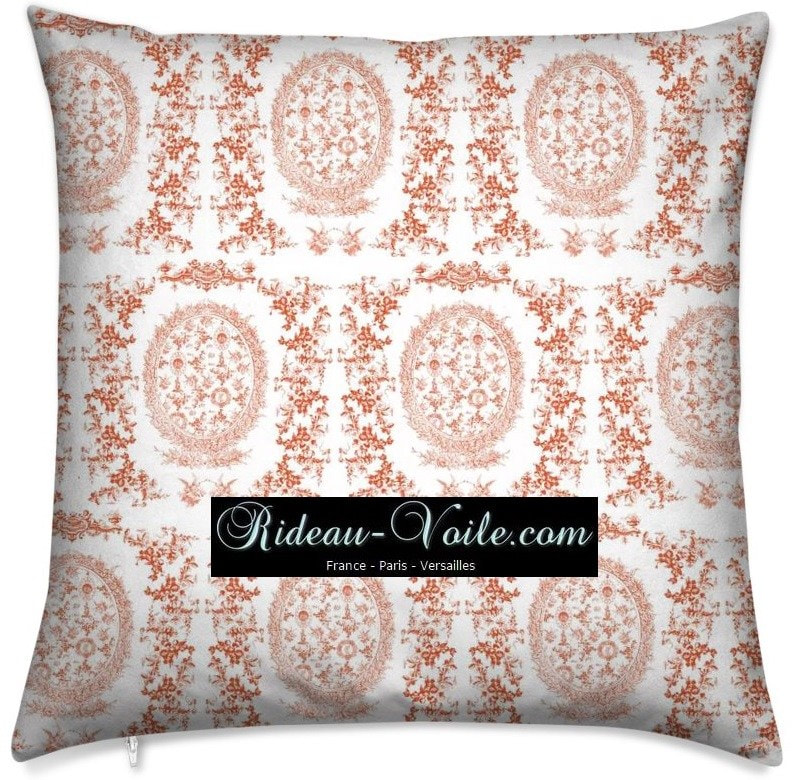toile de jouy au mètre tissu Toile ameublement tapisserie textile agencement Paris Versailles haut de gamme french fabric meter tapestry upholstery home pattern  style Empire Yvelines motif imprimé housse de coussin duvet pillow cushion orange