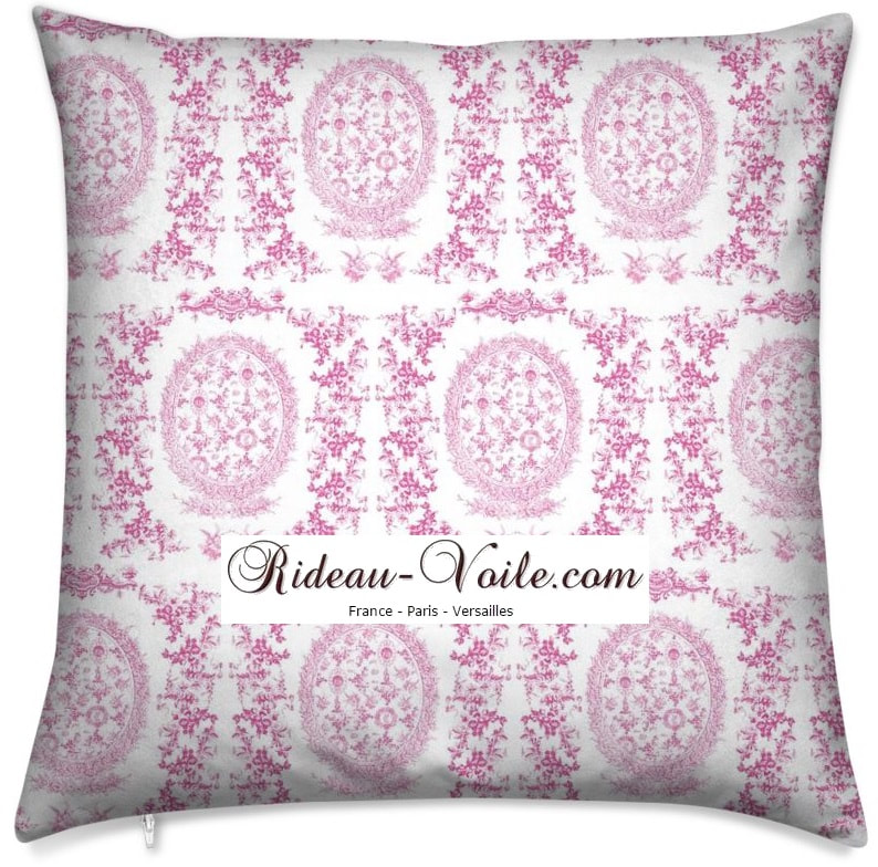 pink rose fushia toile de jouy au mètre tissu Toile ameublement tapisserie textile agencement Paris Versailles haut de gamme french fabric meter tapestry upholstery home pattern  style Empire Yvelines motif imprimé housse de coussin duvet pillow cushion