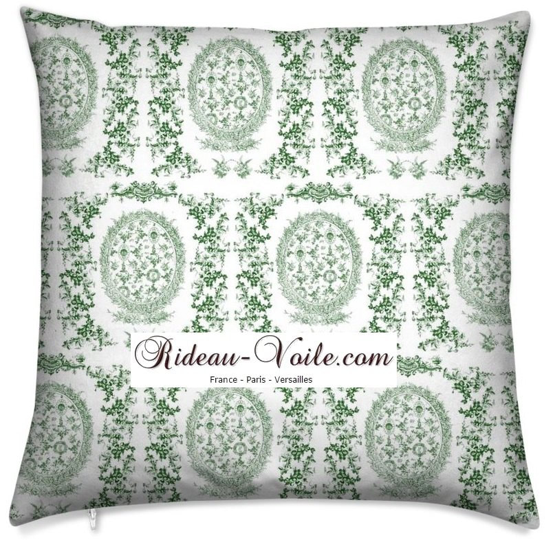 toile de jouy au mètre tissu Toile ameublement tapisserie textile agencement Paris Versailles haut de gamme french fabric meter tapestry upholstery home pattern  style Empire Yvelines motif imprimé housse de coussin duvet pillow cushion vert green