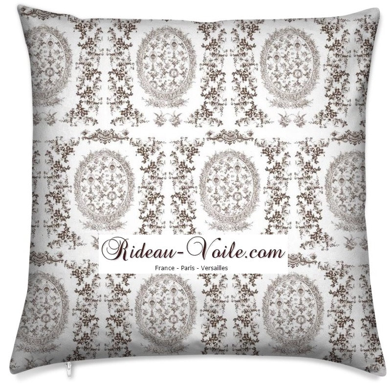 toile de jouy au mètre tissu Toile ameublement tapisserie textile agencement Paris Versailles haut de gamme french fabric meter tapestry upholstery home pattern  style Empire Yvelines motif imprimé housse de coussin duvet pillow cushion marron brun brown