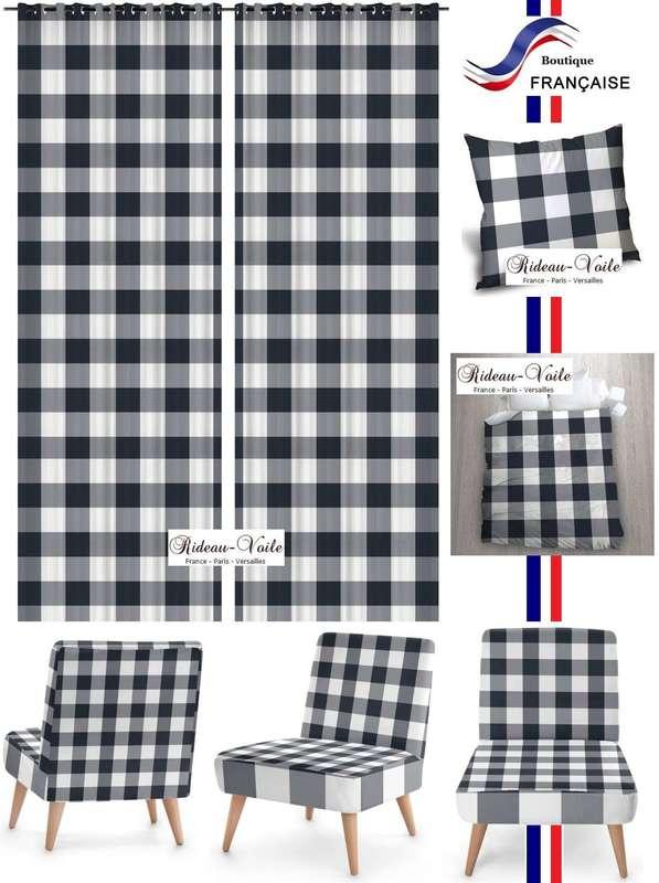 tissu ameublement carreaux bleu blanc vichy. Black Bedroom Furniture Sets. Home Design Ideas