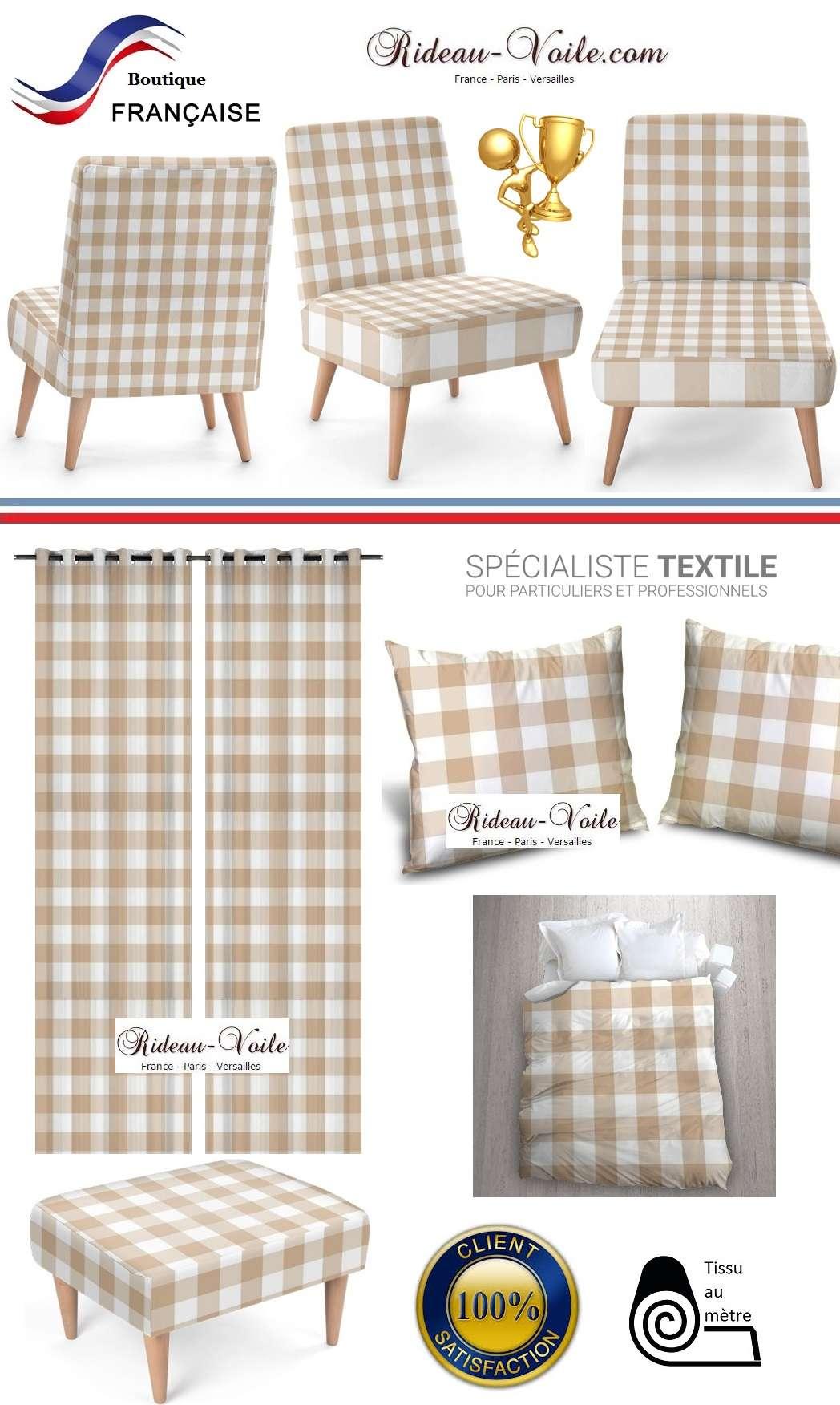 agencement carreaux vichy tissu m tre rideaux et tissus ameublement. Black Bedroom Furniture Sets. Home Design Ideas