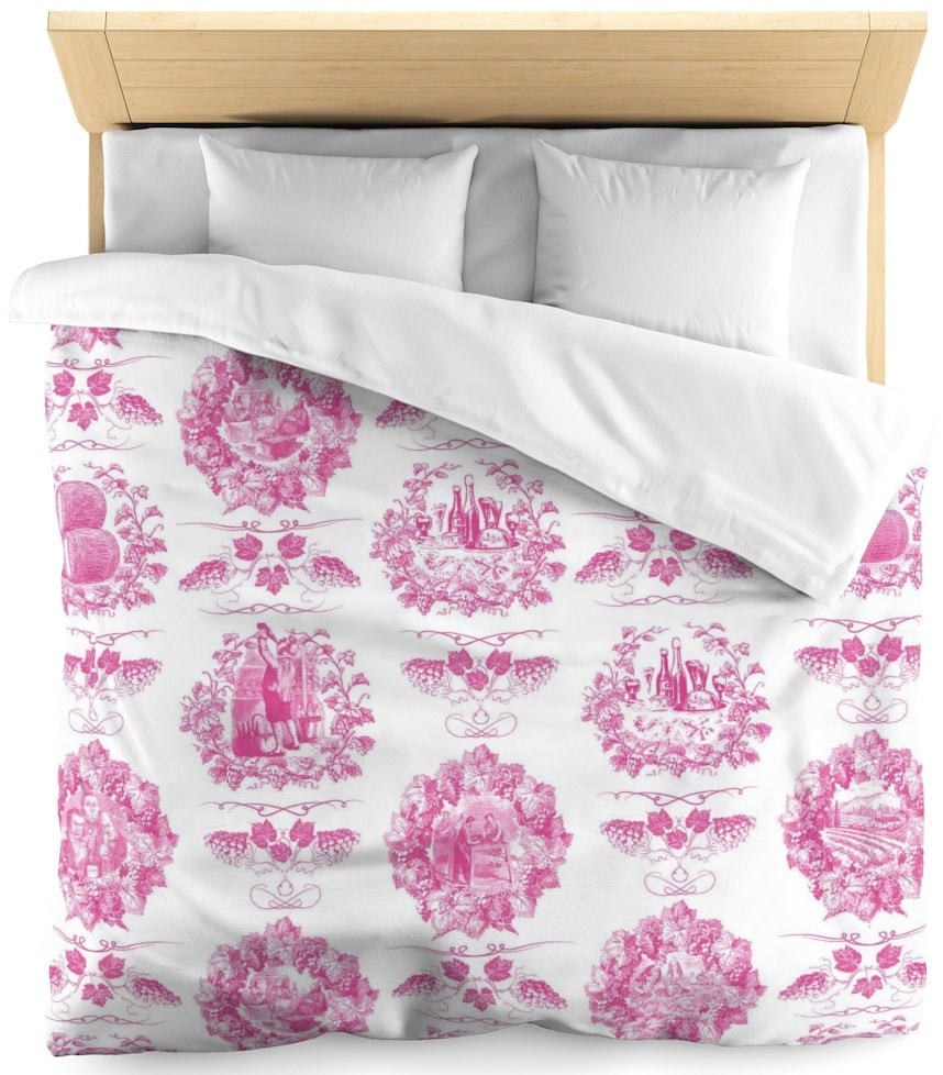 Toile de jouy tissu motif imprimé ameublement décoration tapisserie linge de maison housse coussin couette luxe lit fabric pattern printed home furnishing decoration tapestry linens cover cushion quilt luxury bed upholstery  rose pink