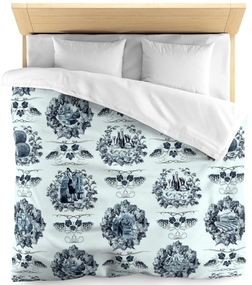 Toile de jouy tissu motif imprimé ameublement décoration tapisserie linge de maison housse coussin couette luxe lit fabric pattern printed home furnishing decoration tapestry linens cover cushion quilt luxury bed upholstery bleu blue