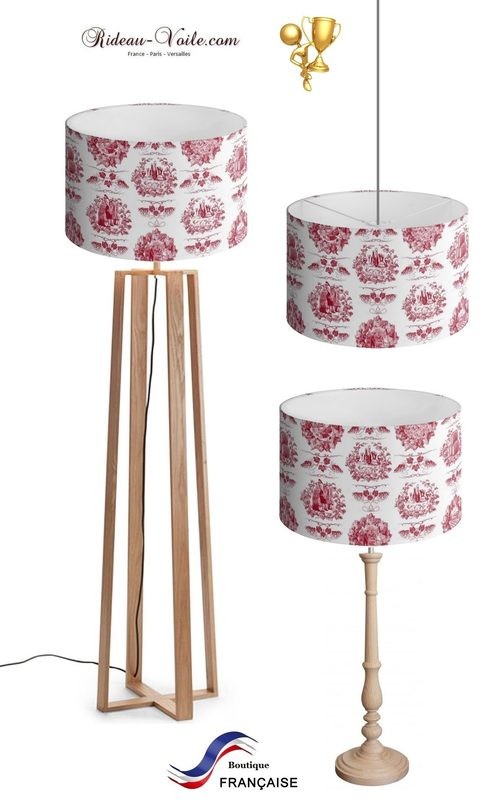 Toile de jouy tissu motif imprimé ameublement décoration tapisserie luxe lit fabric pattern printed home furnishing decoration tapestry linens cover cushion quilt luxury upholstery lampshade abat-jour lampe luminaire red rouge
