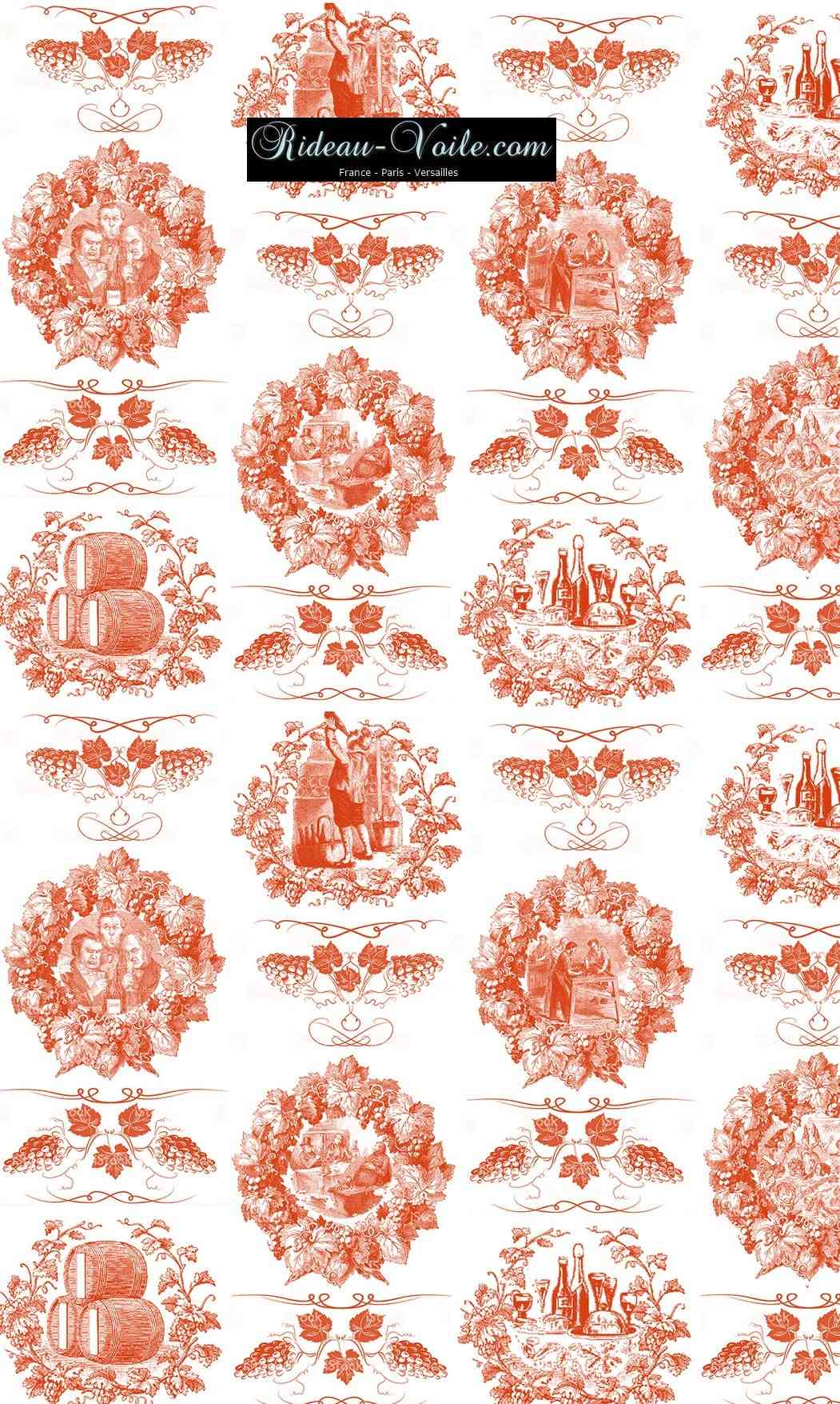 Toile de jouy tissu motif imprimé ameublement décoration tapisserie linge de maison housse coussin couette luxe lit fabric pattern printed home furnishing decoration tapestry linens cover cushion quilt luxury upholstery orange