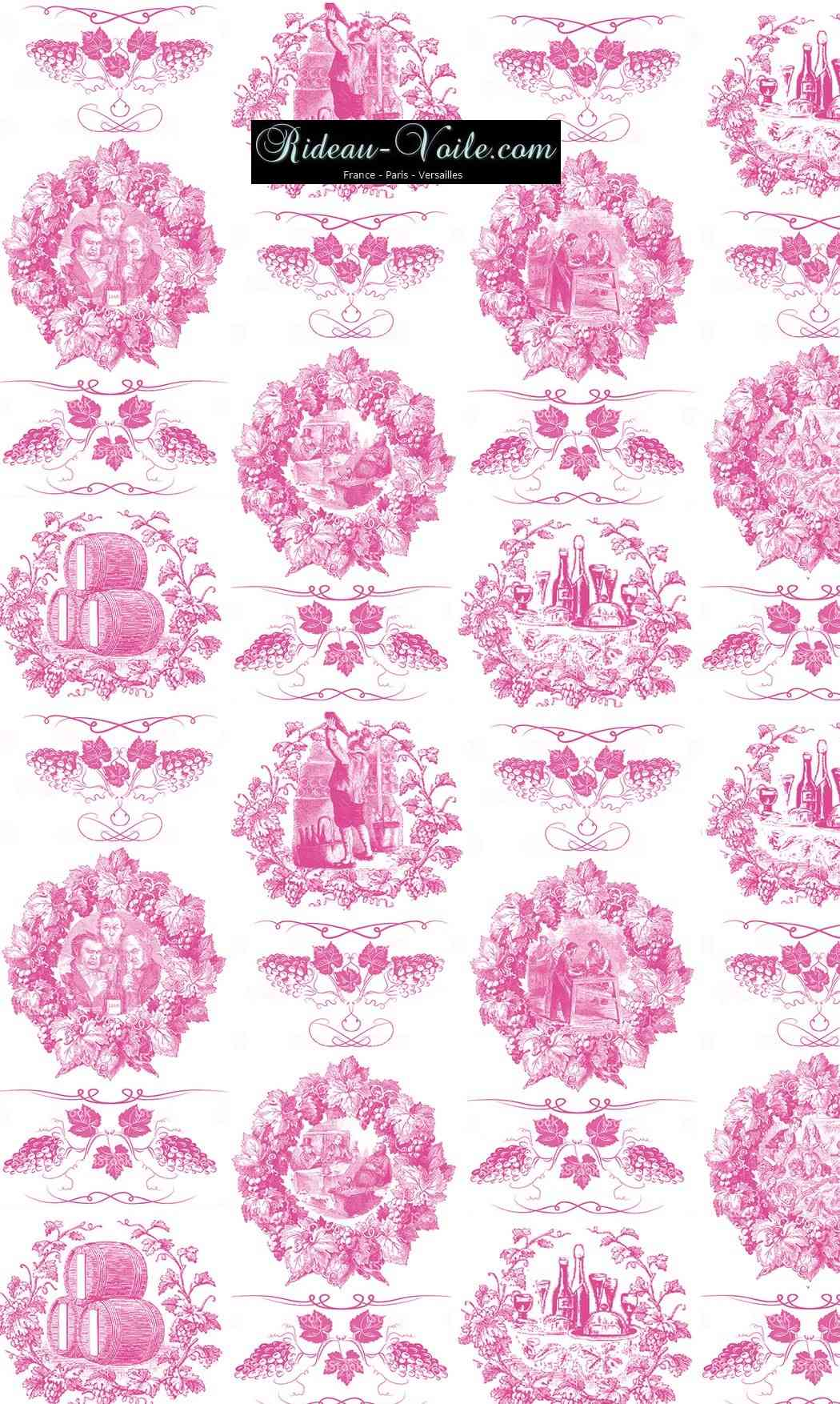 Toile de jouy tissu motif imprimé ameublement décoration tapisserie linge de maison housse coussin couette luxe lit fabric pattern printed home furnishing decoration tapestry linens cover cushion quilt luxury upholstery pink fushia rose