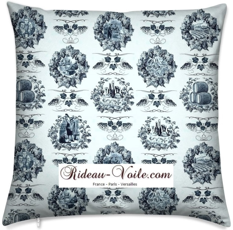 luxe Toile de jouy tissu motif imprimé ameublement décoration tapisserie linge de maison housse coussin couette luxe lit fabric pattern printed home furnishing decoration tapestry linens cover cushion quilt luxury bed upholstery bleu blue