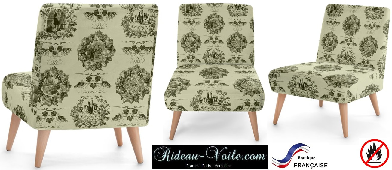 Toile de jouy tissu motif imprimé ameublement décoration tapisserie linge de maison housse coussin couette luxe lit fabric pattern printed home furnishing decoration tapestry linens cover cushion quilt luxury bed upholstery fauteuil siège armchair green vert