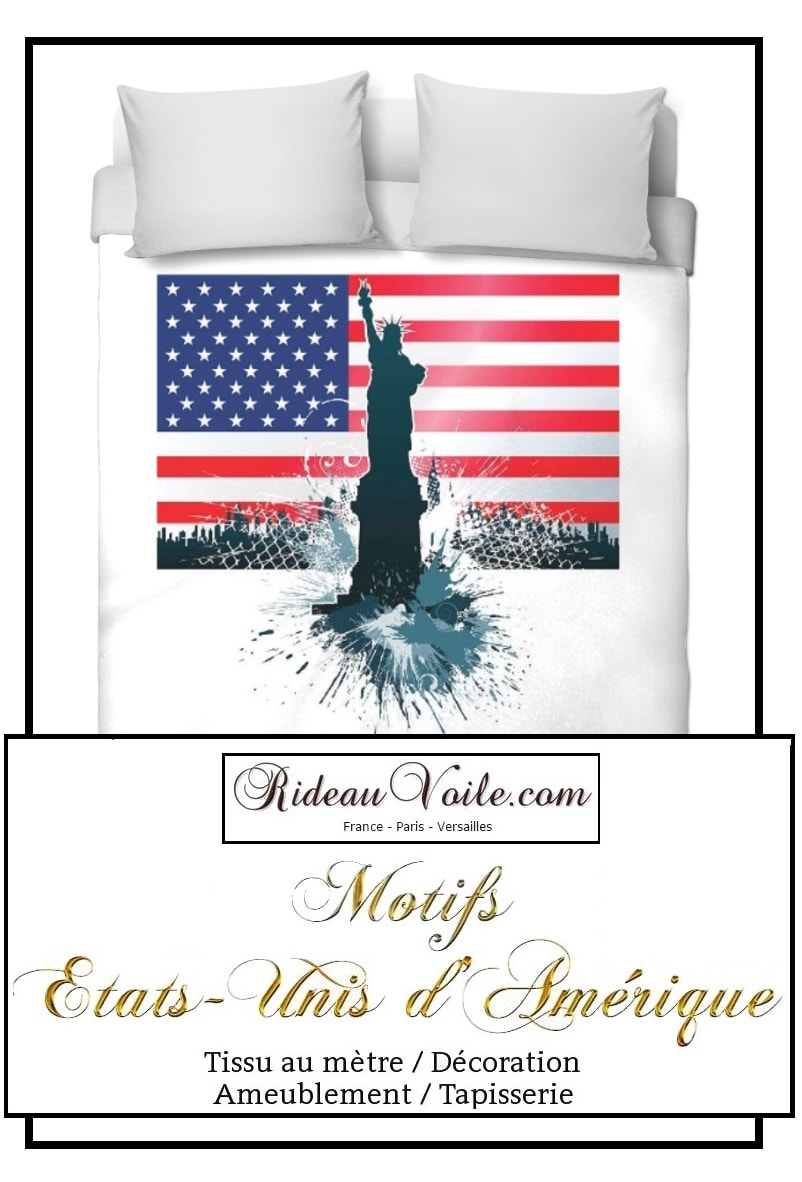 Boutique housse de couette tissu motif usa drapeau fabrics duvet cover printed pattern Flag USA tissu imprimé fabric printed USA pattern motif design coussin rideau douche couette original ignifugé occultant state united drapeau indepence day