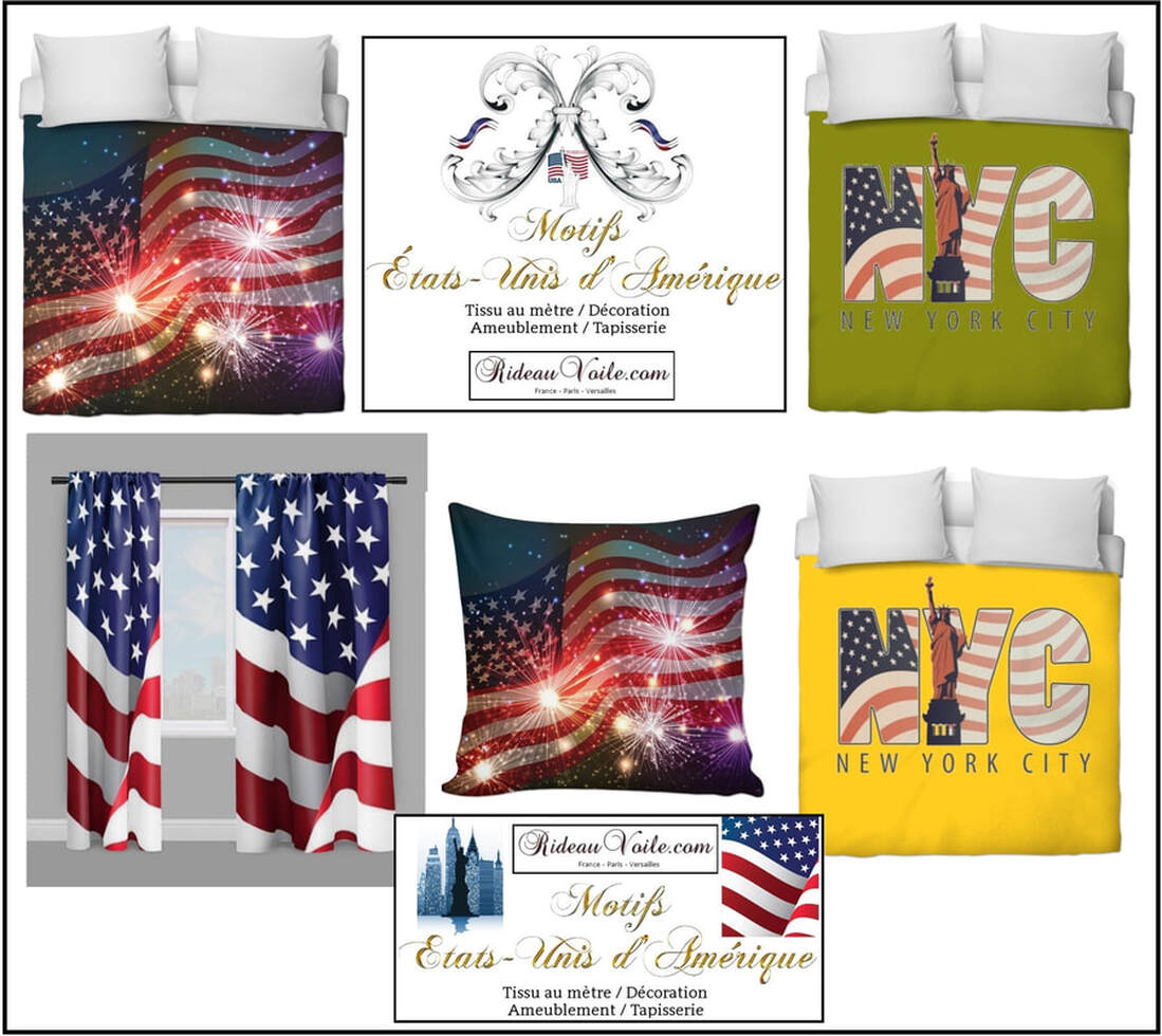 tissu imprimé fabric printed USA pattern motif design coussin rideau douche couette original ignifugé occultant state UNITED flag USA tendaggi drapes curatin duvet cover upholstery tapestry