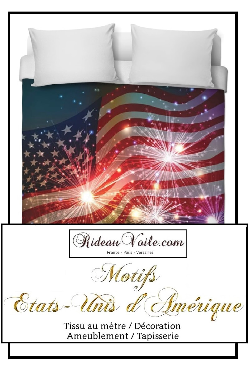 tissu imprimé fabric printed USA Boutique housse de couette tissu motif usa drapeau fabrics duvet cover printed pattern Flag USA pattern motif design coussin rideau douche couette original ignifugé occultant state united drapeau indepence day