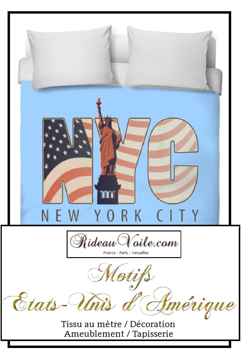 una funda nórdica impresa USA Boutique housse de couette tissu motif usa drapeau fabrics duvet cover printed pattern Flag USA  tissu imprimé fabric printed USA pattern motif design coussin rideau douche couette original ignifugé occultant state united drapeau indepence day